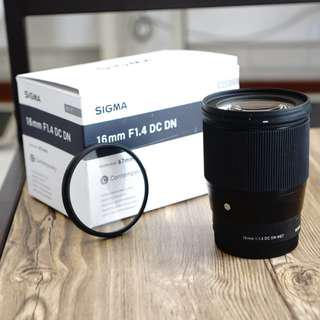 Lensa Sigma 16mm F1.4 for Sony E-Mount