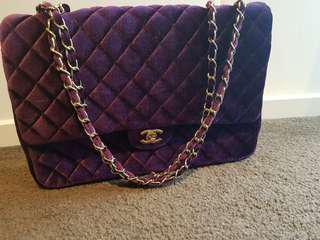 Chanel velvet boy bag. (Large in size)