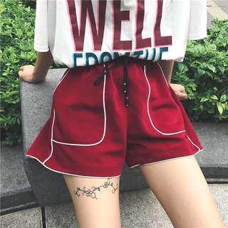 korean red shorts
