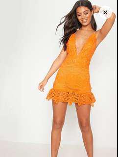 Orange lace Summer dress