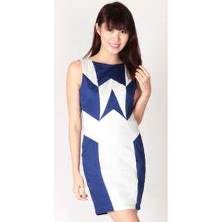 Brand New - Dressabelle Abstract Colour Contrast Executive Dress in Ultramarine (Size M)