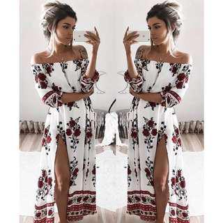 Amazon hot seller off shoulder slit dress