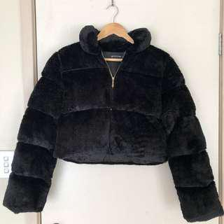 Cropped Fur Puffer Jacket