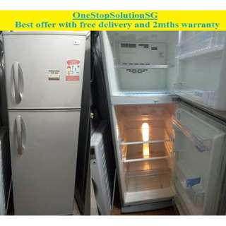 LG 313L, 2 doors fridge / refrigerator ($250 + free delivery & 2mths warranty)