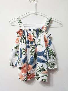 🚚 [售/換] 夏日南洋風 平口露肩短版上衣