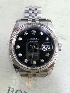 Rolex Oyster 116234 36mm black dial with 10 diamond