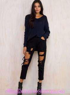 Reverse ripped jeans size 12