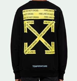 Off White TM Temperature Yellow Tape Pullover Sweater