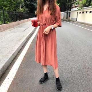 全新 文青 磚紅色 連衣裙