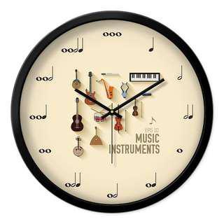 🚚 團購音樂符號時鐘 樂器時鐘 有三色邊框 黑白銀 各式樂器 指針有數字/音符/刻度三款