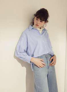 🚚 Pazzo澎澎袖藍條紋襯衫