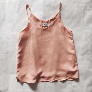 Peach Pink Basic Spag Top