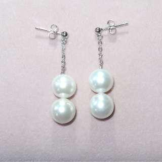 10-11mm天然強光接近無瑕淡水珍珠S925純銀耳環 Freshwater pearl S925 silver earring