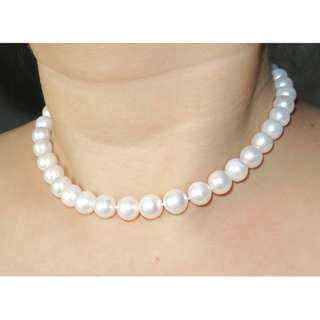 10-11mm天然強光接近無瑕淡水珍珠S925純銀扣頸鏈 Freshwater pearl S925 silver clasp necklace