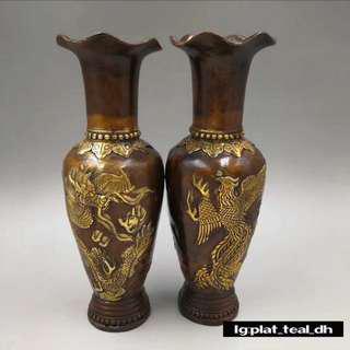 紫銅鎏金龍鳳花瓶一對