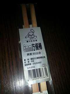 6mm square wood sticks length 600mm 2 wooden sticks