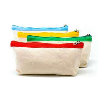 Premium Canvas Fabric Pencil Case (Green, Red, Blue, Yellow)