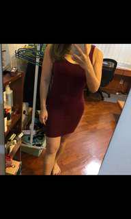 Topshop Jersey Bodycon Dress - maroon