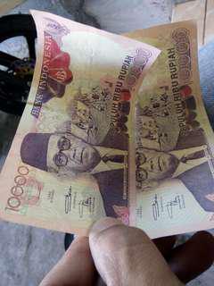 Uang jadul rp 10000 thn 1992