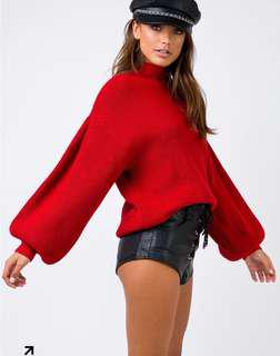 Red Turtleneck Jumper