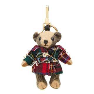 Burberry Teddy Bear 蘇格蘭龐克小熊吊飾 紅綠 現貨180911