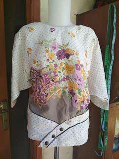 Setelan rok + Blouse wanita bahan mengkilap komb batik