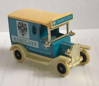 Small Vintage Model Car, Business for Barclays Bank, Made by Days Gone, England.