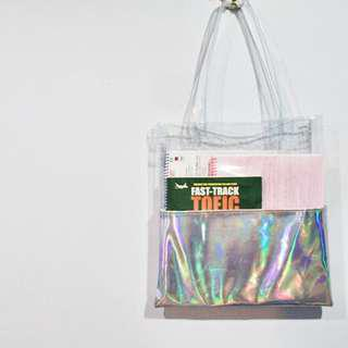 Holographic Half Clear Transparent Tote Bag (Silver/dark pink/light pink)