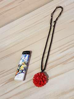 Chinese Red Flower Pendant Handmade Necklace