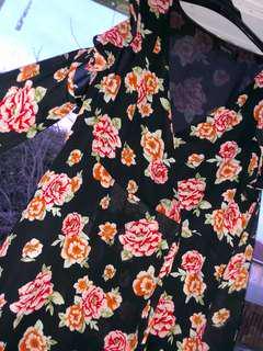 ROSE PATTERN COLD SHOULDER DRESS