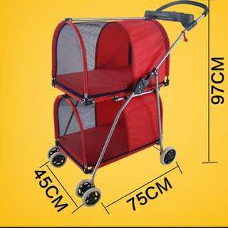 (New!) pet double stroller 2-in-1 Pram carrier