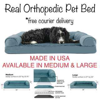 Made in USA MEDIUM ONLY! FurHaven Orthopedic Dog Couch Sofa Bed for Dogs and Cats