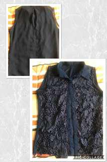 Navy Blue Embroidered Sleeveless