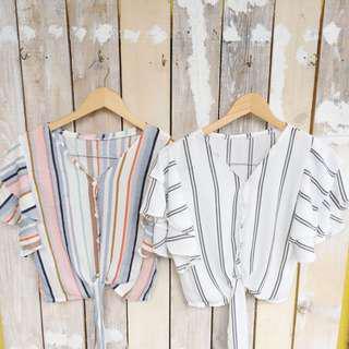 Buttondown ruffle sleeves