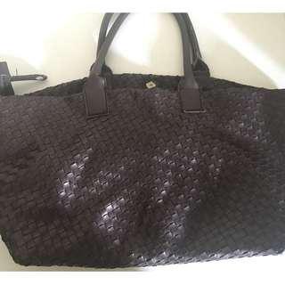 Woven Leather Big Handbag