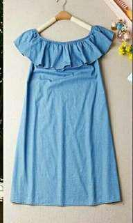 Soft denim off shoulder dress