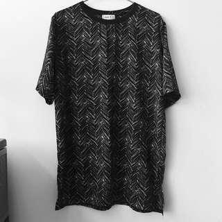 Oversized Black Abstract Shirt