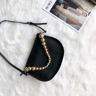 Authentic Zara Black Sling Back with Metallic #under90