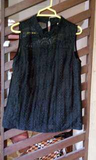 Kashieca Black Embroidered Front, See-through Back Sleeveless top