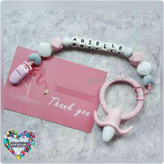 Handmade Customized Pacifier Clip with letter beads + Pink Corn teether