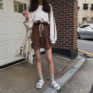 A1406🌸2色*韓系休閒燈籠袖大學T+抽繩綁帶短裙