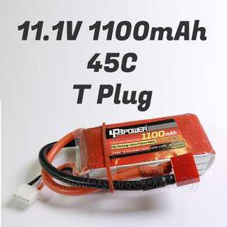 🚚 LPB 11.1V 1100mAh LiPo Battery, 3S, 45C, 3 cells, T Plug, ~70x34x18mm, ~92g. Code: LPB3S45C1100