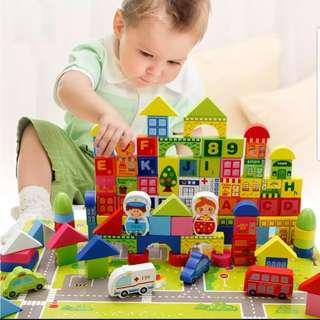 100pcs+60pcs Wooden Building Blocks with Puzzles