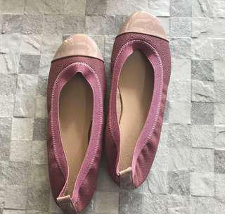Old Rose with Nude Toecap Ballet Flats