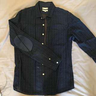 JAKET navy blue 100% pure cotton polka dots basic shirt