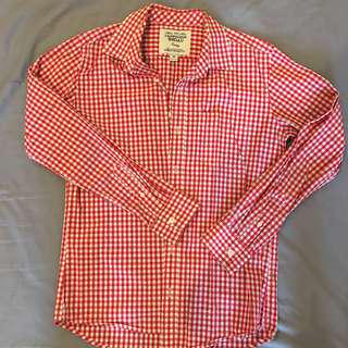 WHO.A.U basic red checked shirt