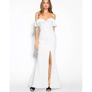Sheike 'Allure' Maxi Off Shoulder Slit Formal Dress - Ivory White,