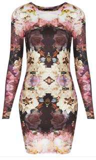 Topshop Mirror bloom petite bodycon dress
