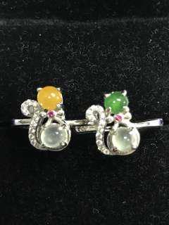 🐱貓咪戒指兩款 天然翡翠925銀鑲嵌 每款$200/兩隻一起$350