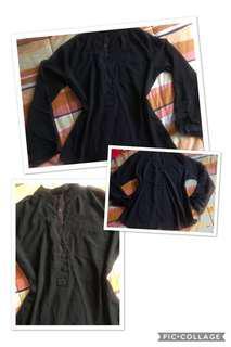 Chiffon Black Long Sleeve Blouse